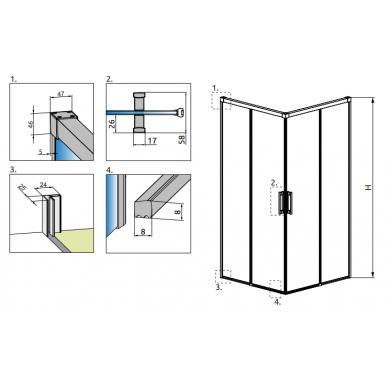 Dušo kabina Radaway Idea Kdd 80, 90, 100, 110, 120 cm 6