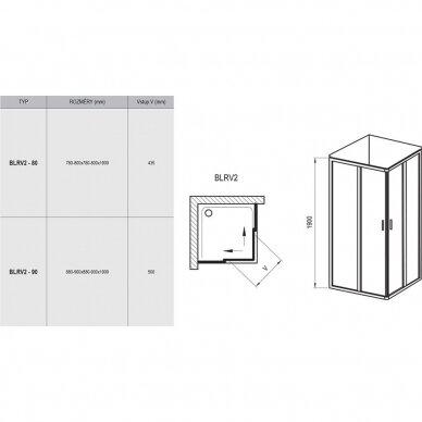 Dušo kabina Ravak Blix BLRV2 80, 90 cm 8