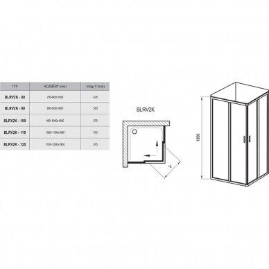 Dušo kabina Ravak Blix BLRV2K+BLRV2K 80, 90, 100, 110, 120 cm 7
