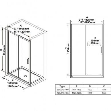 Dušo durys Ravak Blix Slim BLSDP2 100, 110, 120 cm 7