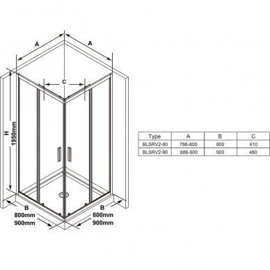 Dušo kabina Ravak Blix Slim BLSRV2 80, 90 cm 7