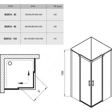 Dušo kabina Ravak Matrix MSRV4 80, 90, 100 cm 7