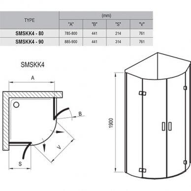 Dušo kabina Ravak SmartLine SMSKK4 80, 90 cm 7