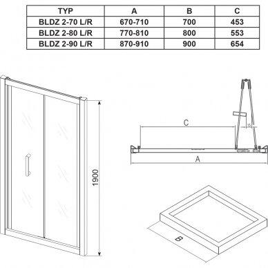 Dušo kabinos komplektas Ravak 80, 90 cm: durys Blix BLDZ2 + stacionari sienelė BLPSZ 4