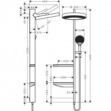 Dušo komplektas Hansgrohe Rainfinity Showerpipe 360 1jet 5