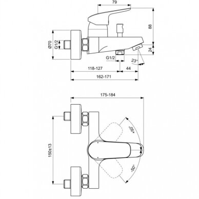 Dušo komplektas Ideal Standard Ceraflex 3IN1 7