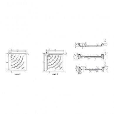 Ravak dušo komplektas: kabina SRV2-90S+ SRV2-90S + padėklas + sifonas 9
