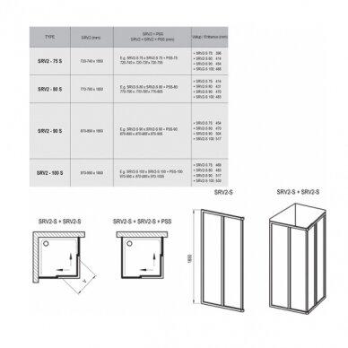Ravak dušo komplektas: kabina SRV2-90S+ SRV2-90S + padėklas + sifonas 8
