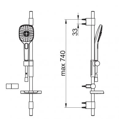 Dušo komplektas Oras Hydractiva Style su 3-jų srovių rankiniu dušu 2