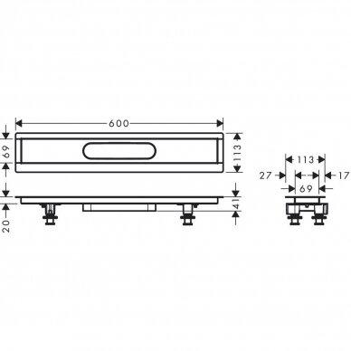 Dušo latakas Hansgrohe uBox 60 cm 2