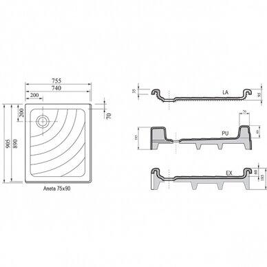 Akrilinis dušo padėklas Ravak Aneta 75x90 cm LA, EX, PU 4