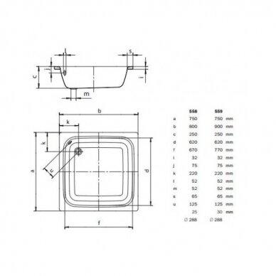 Plieninis dušo padėklas Kaldewei Sanidusch 75, 80, 90 cm 5