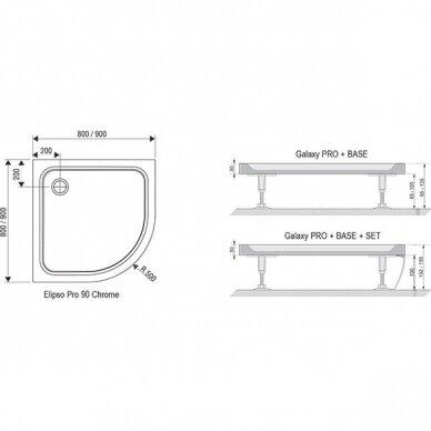 Dušo padėklas Ravak Elipso Pro Chrome 80, 90 cm 4