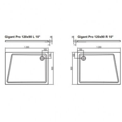 Dušo padėklas Ravak Gigant Pro 10° 100x80, 120x90 cm 4