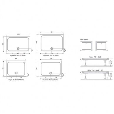 Dušo padėklas Ravak Gigant Pro Chrome 100, 110, 120 cm 3