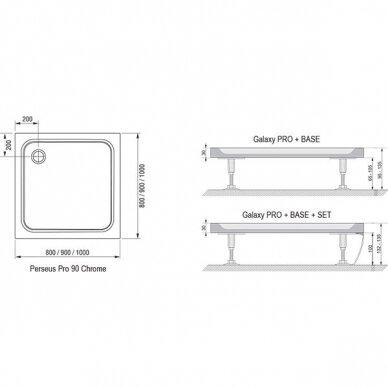 Dušo padėklas Ravak Perseus Pro Chrome 80, 90, 100 cm 4
