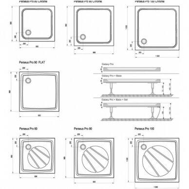 Dušo padėklas Ravak Perseus Pro Chrome 80, 90, 100 cm 5