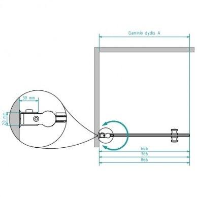 Dušo sienelė Brasta Glass Laura 70, 80, 90 cm 3