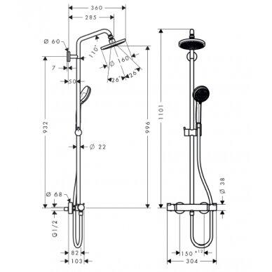 Dušo sistema Hansgrohe Croma 160 Showerpipe 2