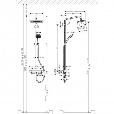 Dušo sistema Hansgrohe Croma E Showerpipe 280 1jet 5