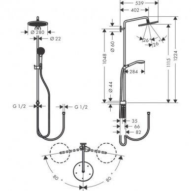 Dušo sistema Hansgrohe Croma Select S 280 2