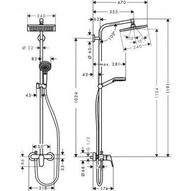 Dušo sistema Hansgrohe Crometta E 240 3
