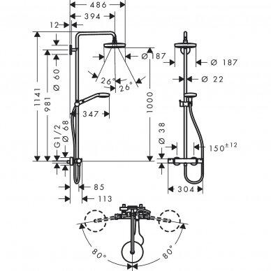 Dušo sistema su termostatiniu maišytuvu Hansgrohe Croma Select S 180 2
