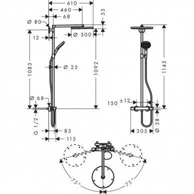Dušo sistema Hansgrohe Raindance S300 3