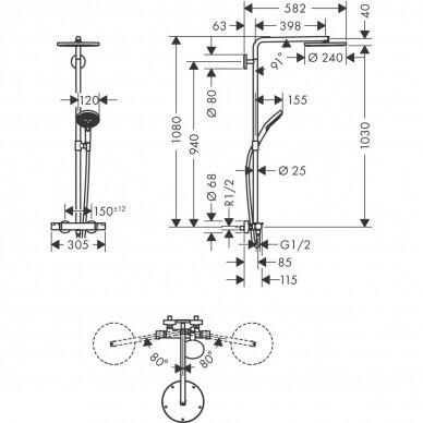 Dušo sistema Hansgrohe Raindance Select S Showerpipe 240 1jet PowderRain su termostatiniu maišytuvu 4
