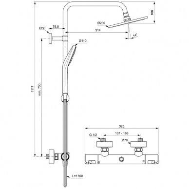 Dušo sistema Ideal Standard Ceratherm T50 2