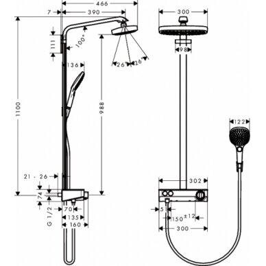 Dušo sistema Hansgrohe Raindance Select E300 2jet 3