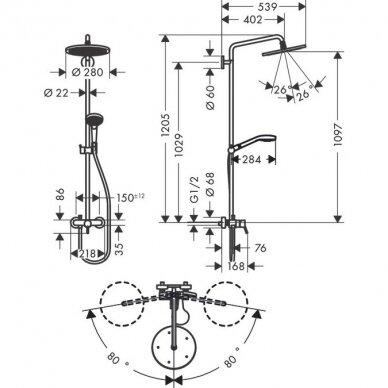 Dušo sistema su maišytuvu Hansgrohe Croma Select S 280 1jet 3