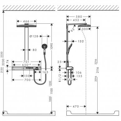 Dušo sistema su termostatiniu maišytuvu Hansgrohe Rainmaker Select 400 3jet 9