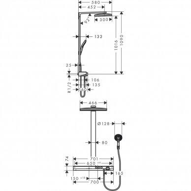 Dušo sistema su termostatiniu maišytuvu Hansgrohe Rainmaker Select 460 2jet 6