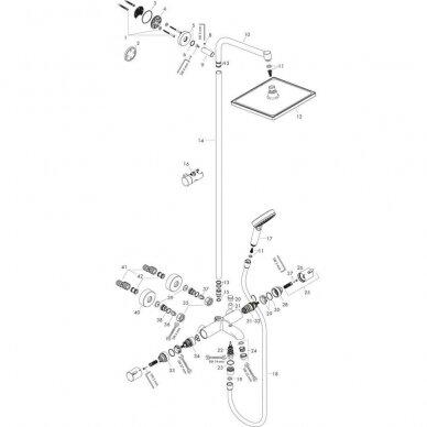 Dušo sistema su termostatu Hansgrohe Crometta E 240 1jet 2