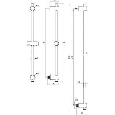 Dušo stovas su laikikliu ir išvadu Ravak, 60, 90 cm 2