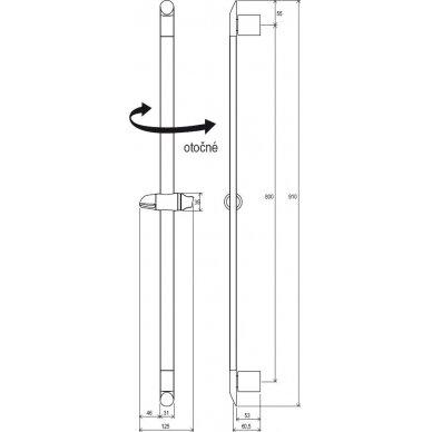 Dušo stovas su reguliuojamu laikikliu, 90 cm 5