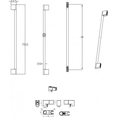 Dušo stovas su reguliuojamu laikikliu Chrome, 70 cm 2