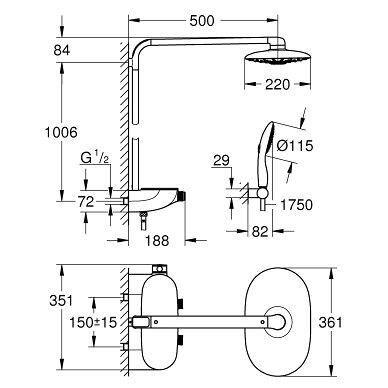 Dušo termostatinė sistema su Rainshower SmartControl 360 Duo 6