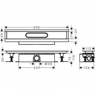 Dušo latakas su sifonu Hansgrohe uBox 60 cm 4