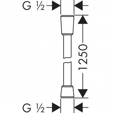 Dušo žarna Hansgrohe Isiflex 125, 160, 200 cm 2