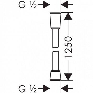 Dušo žarna Hansgrohe Isiflex 125, 160, 200 cm chromas 2