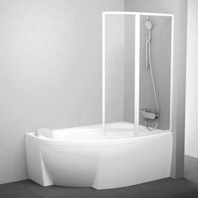 Dviejų dalių sulenkiama vonios sienelė Ravak VSK2 Rosa 140, 150, 160, 170 cm