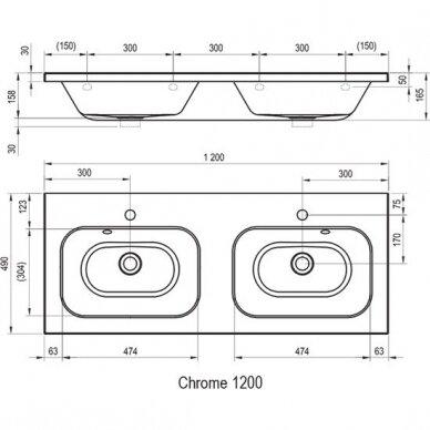 Dvigubas praustuvas Ravak Chrome 120 cm 9