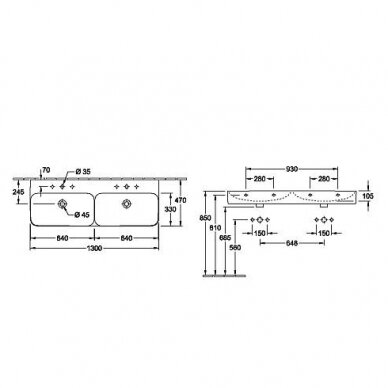Dvigubas praustuvas Villeroy & Boch Finion 130 cm 7