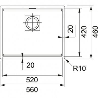 Akmens masės plautuvė Franke Kubus 2 STG KNG 110-52, eks. v. 7