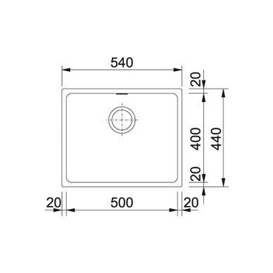 Akmens masės plautuvė Franke Kubus KBG 110-50, eks. v. 13