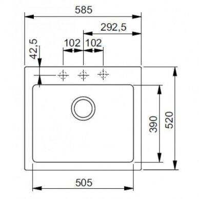 Akmens masės plautuvė Franke Maris MRG 610-58, eks. v. 12