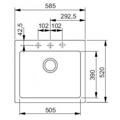Akmens masės plautuvė Franke Maris MRG 610-58, eks. v. 7