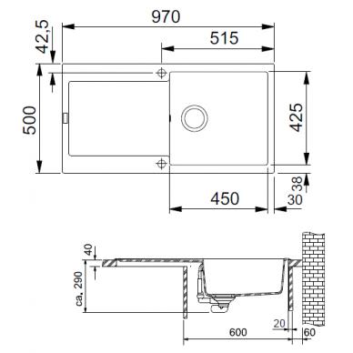 Akmens masės plautuvė Franke Maris MRG 611-100, eks. v. 2